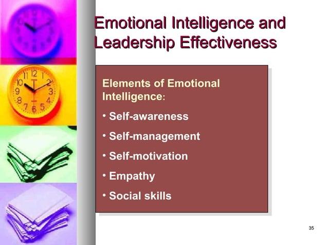 3535 Emotional Intelligence andEmotional Intelligence and Leadership EffectivenessLeadership Effectiveness Elements of Emo...