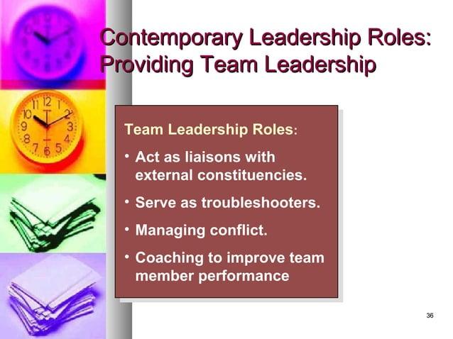 3636 Contemporary Leadership Roles:Contemporary Leadership Roles: Providing Team LeadershipProviding Team Leadership Team ...