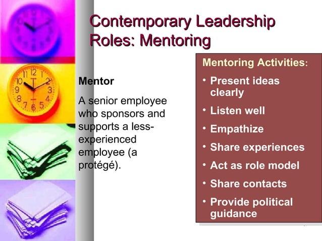 3737 Contemporary LeadershipContemporary Leadership Roles: MentoringRoles: Mentoring Mentoring Activities: • Present ideas...