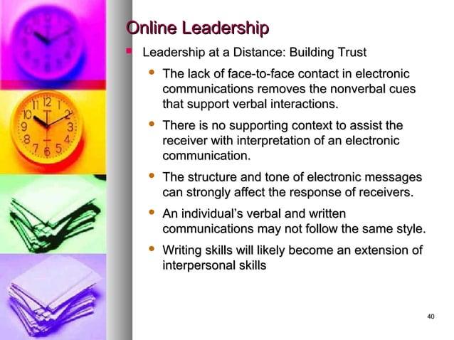 4040 Online LeadershipOnline Leadership  Leadership at a Distance: Building TrustLeadership at a Distance: Building Trust...