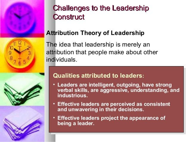 4141 Challenges to the LeadershipChallenges to the Leadership ConstructConstruct Qualities attributed to leaders: • Leader...