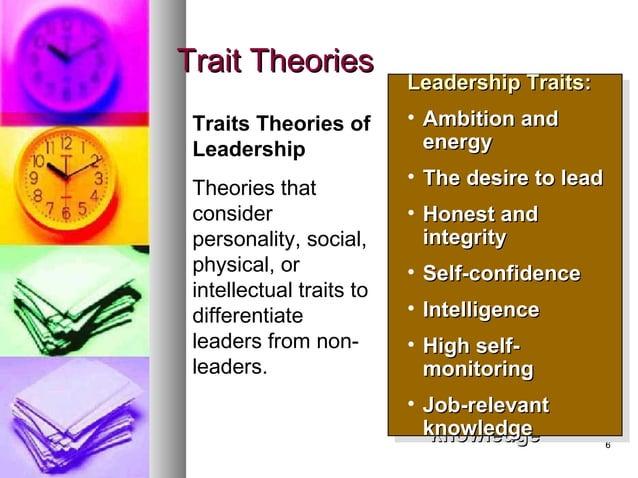 66 Trait TheoriesTrait Theories Leadership TraitsLeadership Traits:: • Ambition andAmbition and energyenergy • The desire ...