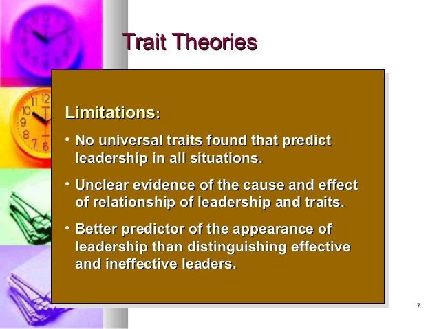 77 Trait TheoriesTrait Theories LimitationsLimitations:: • No universal traits found that predictNo universal traits found...