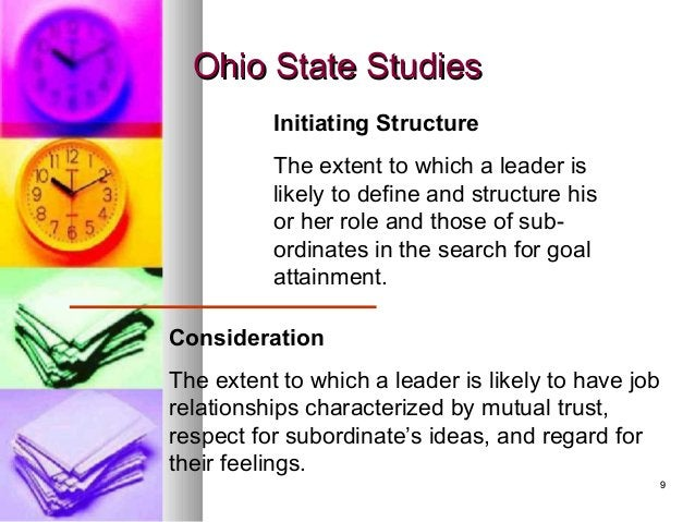 99 Ohio State StudiesOhio State Studies Initiating Structure The extent to which a leader is likely to define and structur...