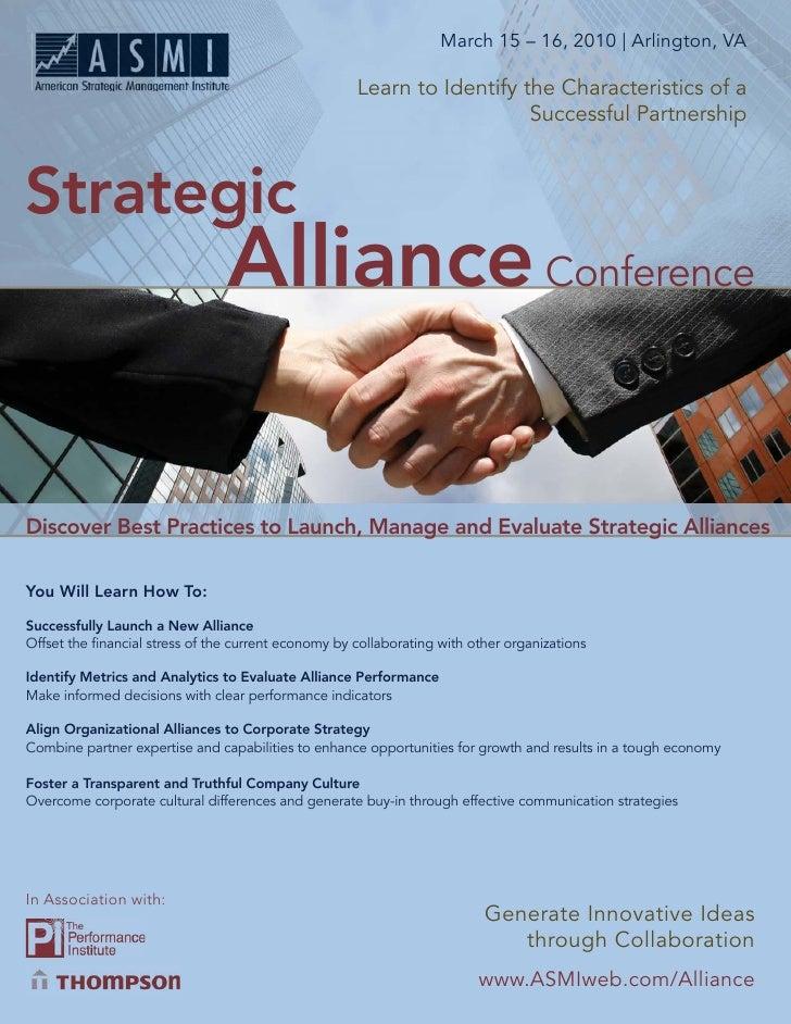 March 15 – 16, 2010 | Arlington, VA             Strategic Alliance Conference                                             ...