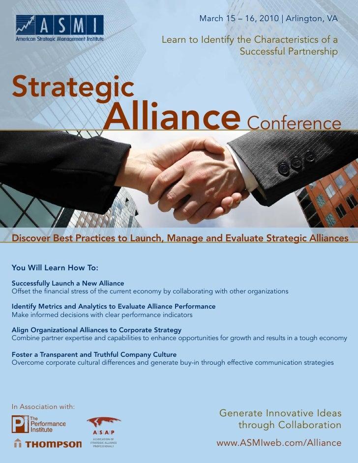 March 15 – 16, 2010   Arlington, VA            Strategic Alliance Conference                                              ...