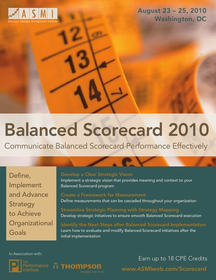August 23 – 25, 2010                                                                      Washington, DC     Balanced Scor...