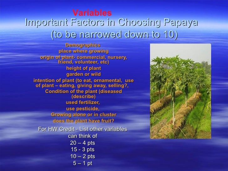 VariablesImportant Factors in Choosing Papaya     (to be narrowed down to 10)                Demographics            place...