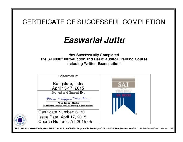 SA 8000 - Basic Lead Auditor course certificate