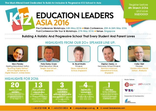 The Must-Attend Event Dedicated To Build An Inclusive & Progressive K12 School In Asia Pre-Conference Workshops: 24th May ...