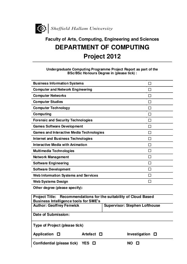 Faculty of Arts, Computing, Engineering and Sciences DEPARTMENT OF COMPUTING Project 2012 Undergraduate Computing Programm...
