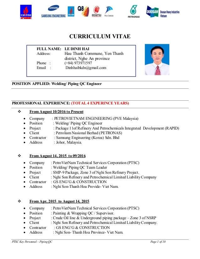 Qc Welding Engineer Cv October 2020