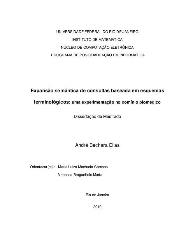 UNIVERSIDADE FEDERAL DO RIO DE JANEIRO INSTITUTO DE MATEMÁTICA NÚCLEO DE COMPUTAÇÃO ELETRÔNICA PROGRAMA DE PÓS-GRADUAÇÃO E...