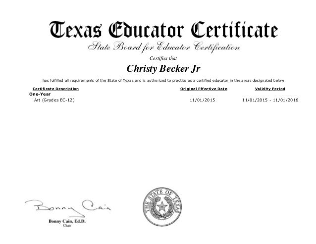 mr.christy becker jr texas cert-art teacher
