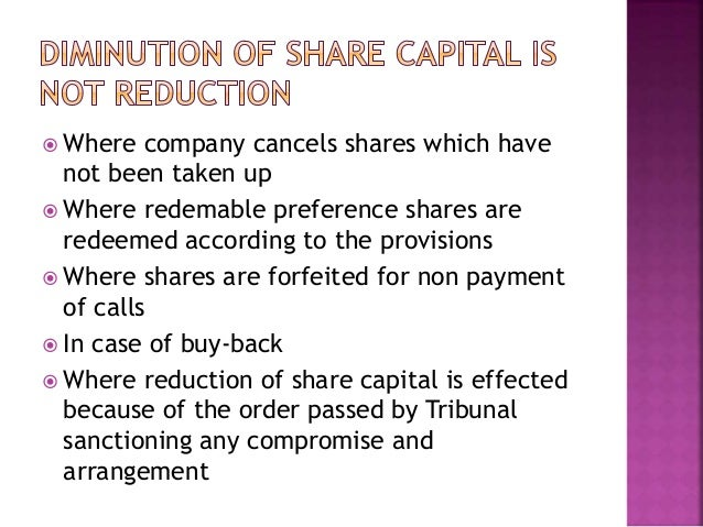 alteration of share capital methods