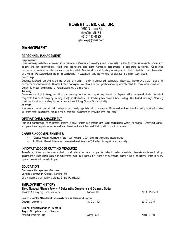 Robert Bickel Management Resume