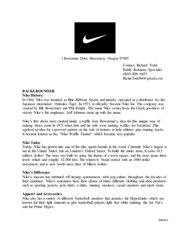 nike public relations plan 343 public relations manager jobs available in oregon on indeedcom  public  presentations and outreach develops and implements a public information  program in coordination with assigned  nike inc - 5,647 reviews - beaverton,  or.