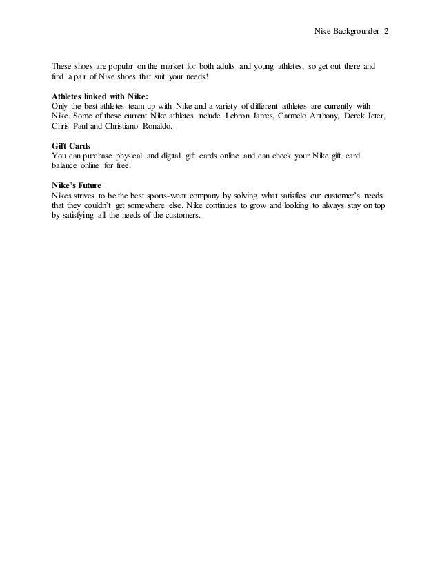Nike Backgrounder PR Writing