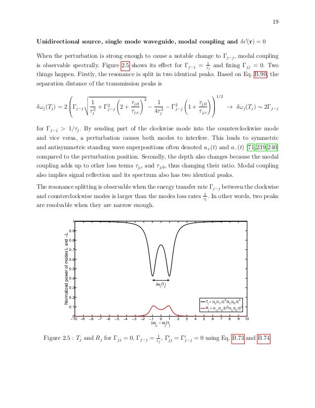 19 Unidirectional source, single mode waveguide, modal coupling and δ (r) = 0 When the perturbation is strong enough to ca...