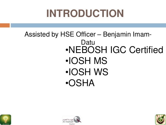 Ppt nebosh igc course in chennai safety training institute.