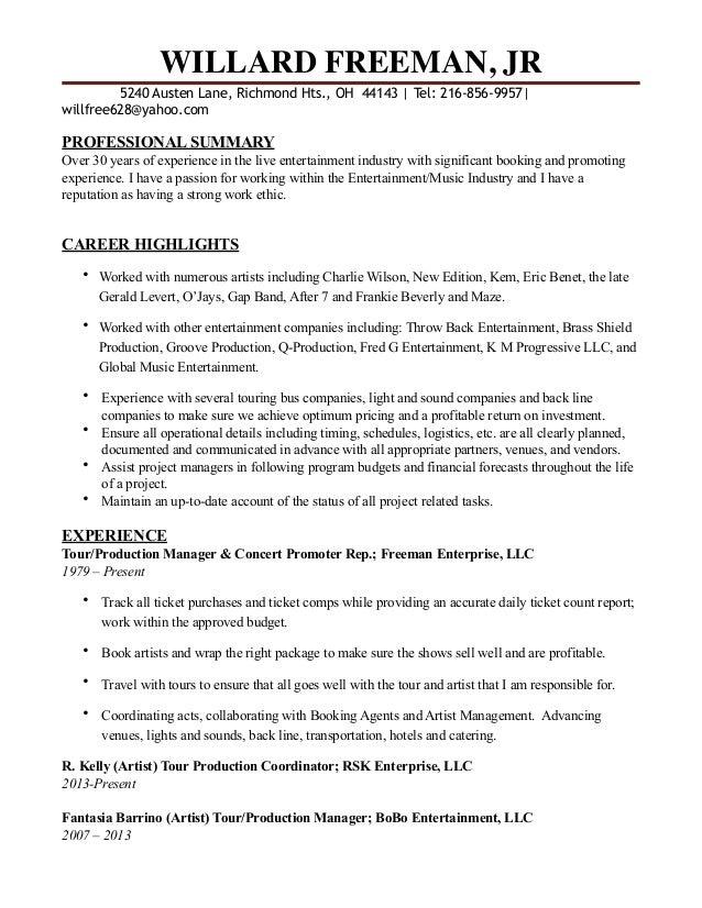 WILLARD FREEMAN revised resume