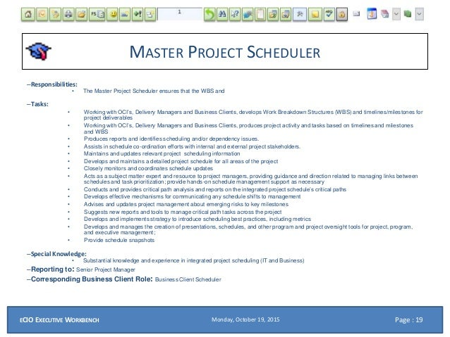 eCIO PPT Roles for a SAP and Systems Integration Project – Master Scheduler Job Description