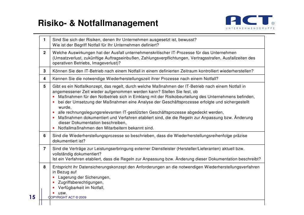 Risiko- & Notfallmanagement       1     Sind Sie sich der Risiken, denen Ihr Unternehmen ausgesetzt ist, bewusst?         ...