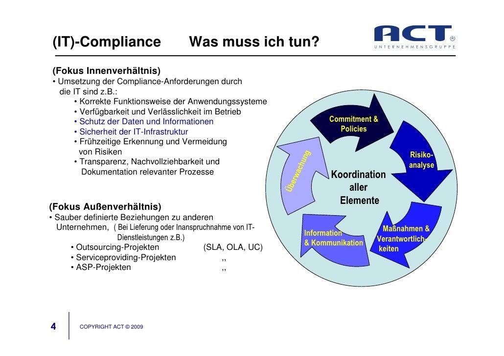 (IT)-Compliance                       Was muss ich tun? (Fokus Innenverhältnis) • Umsetzung der Compliance-Anforderungen d...