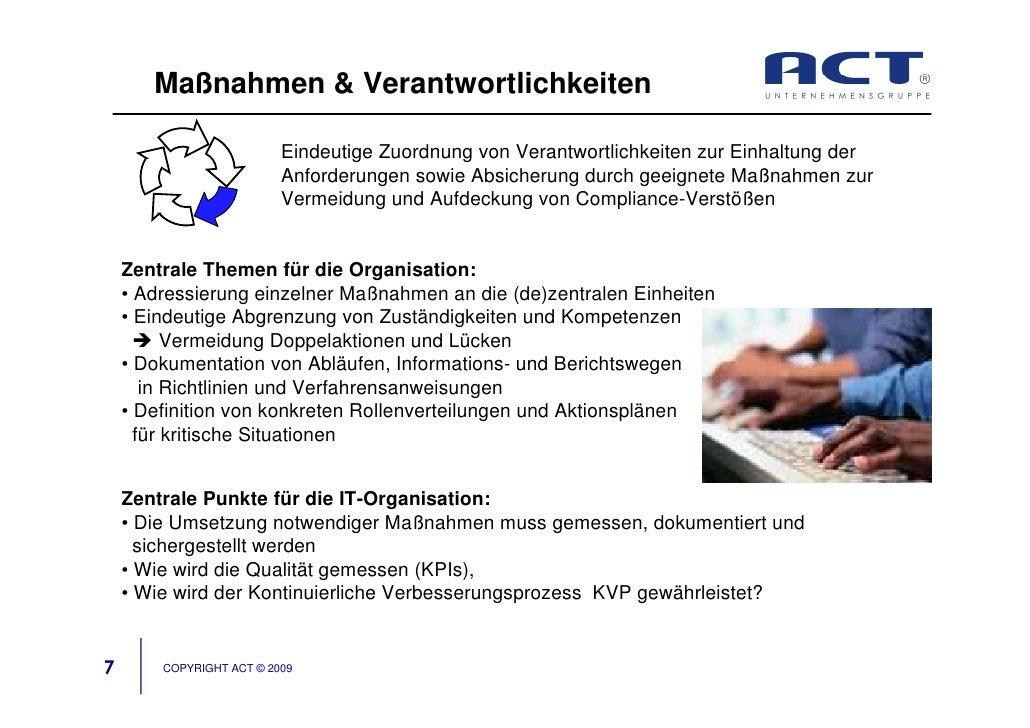 Maßnahmen & Verantwortlichkeiten                            Eindeutige Zuordnung von Verantwortlichkeiten zur Einhaltung d...