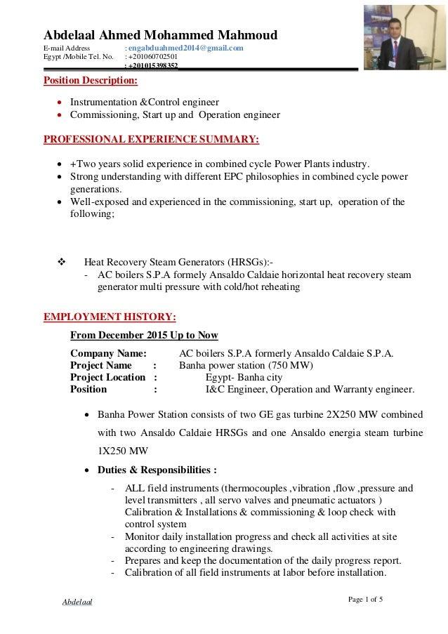 Abdelaal Ahmed Mohammed Mahmoud E-mail Address : engabduahmed2014@gmail.com Egypt /Mobile Tel. No. : +201060702501 : +2010...