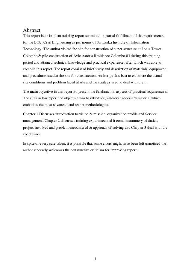 Inplant training report writing