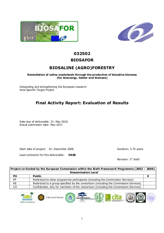 i 032502 BIOSAFOR BIOSALINE (AGRO)FORESTRY Remediation of saline wastelands through the production of biosaline biomass (f...