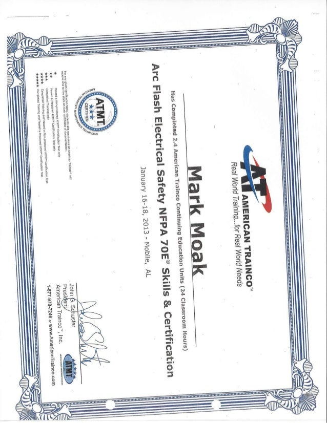 Arc Flash Electrical Safey Nfpa 70e Skills And Certification