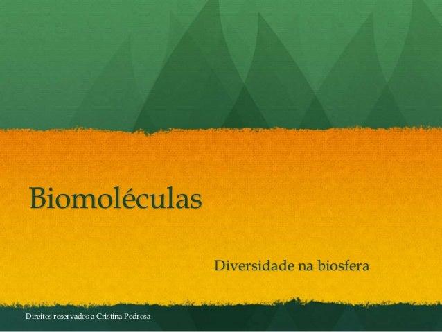 Biomoléculas Diversidade na biosfera Direitos reservados a Cristina Pedrosa