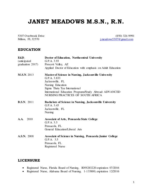 curriculum vitae janet 06152015 1 janet meadows msn rn 5307 overbrook drive 850 324 9991 milton