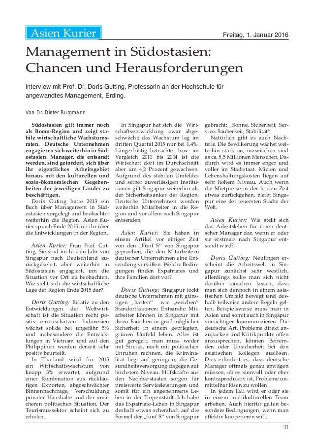 Freitag, 1. Januar 2016Asien Kurier 31 Management in Südostasien: Chancen und Herausforderungen Interview mit Prof. Dr. Do...