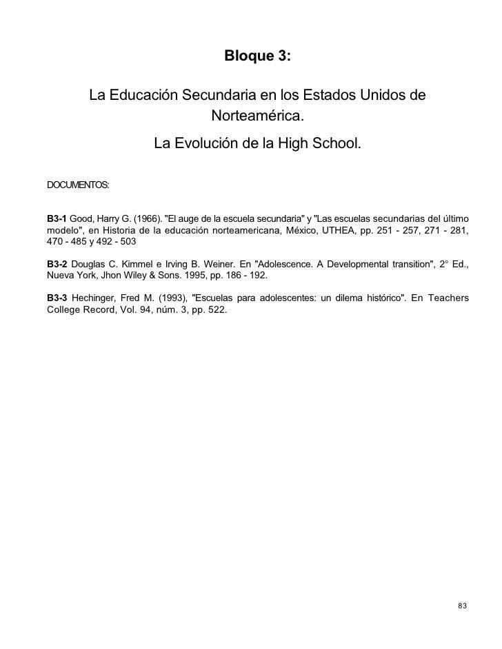 Bloque 3:            La Educación Secundaria en los Estados Unidos de                           Norteamérica.             ...