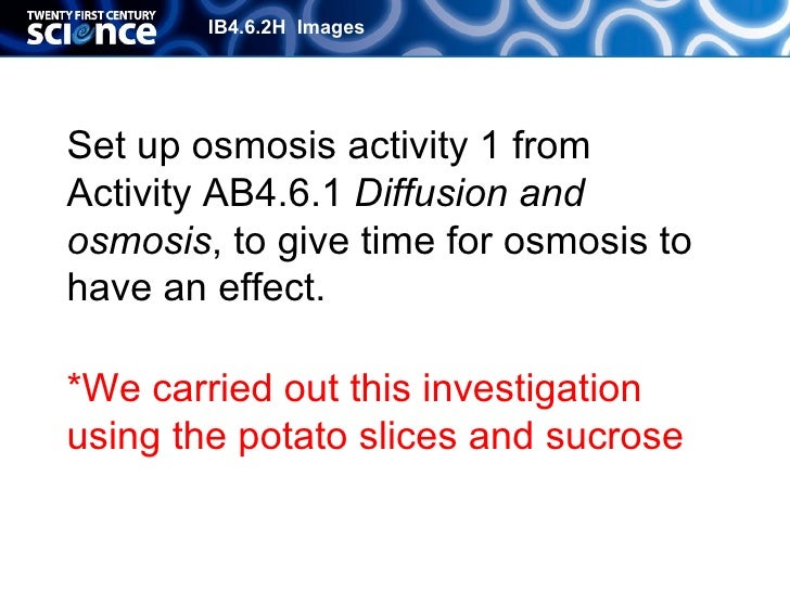 investigating osmosis using potato cylinders essay Investigating osmosis homework pupils will be required to give a definition of osmosis and then calculate the change in mass of potato cylinders using the data provided they wil.