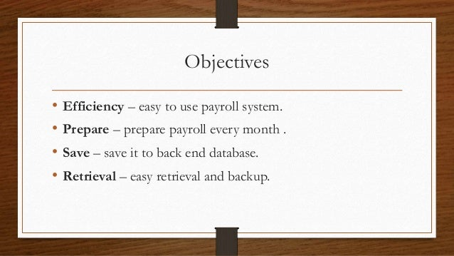 Feasibility study of payroll system