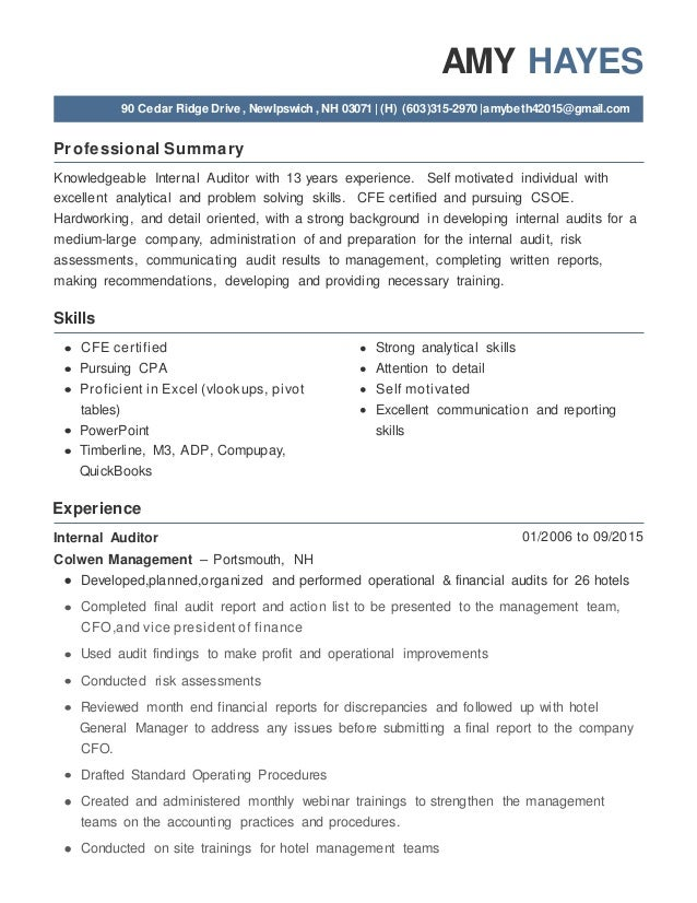 Amy Hayes Internal Auditor Resume Jan 2016