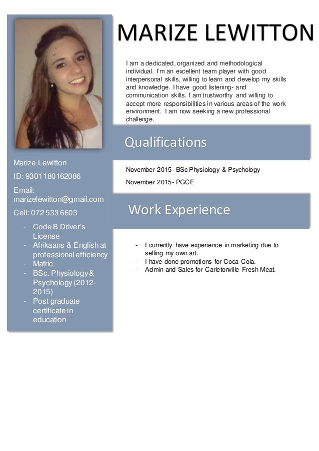 marize lewitton cv english i am a dedicated organized and methodological individual