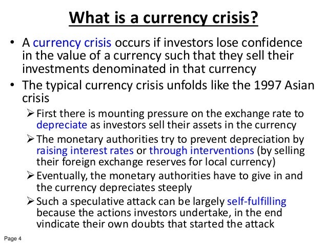 the first generation currency crisis model finance essay The third generation model of currency crises, i derive a simple and intuitive formula that captures an economy's structural vulnerability characterized by the elasticity of exports and repayments for foreign currency denominated debt.