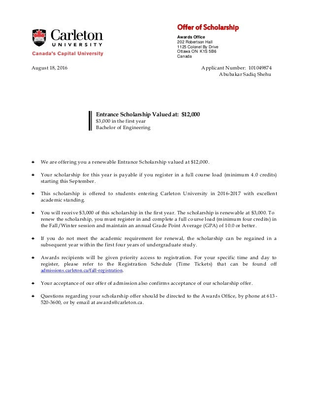Carleton Acceptance Letter – Scholarship Acceptance Letter