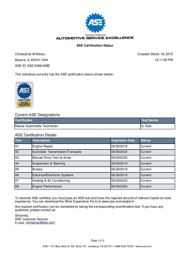 Certification Status 1