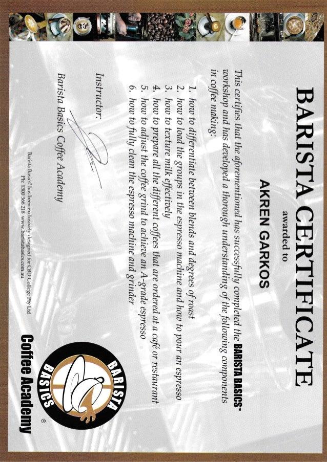 Barista Basics Course 22 10 2016