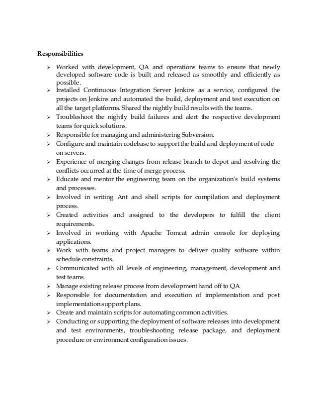 build and release engineer resume release engineer sle resume