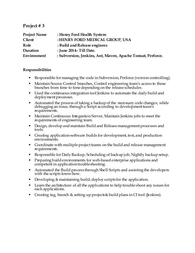 Good SlideShare Throughout Build And Release Engineer Resume