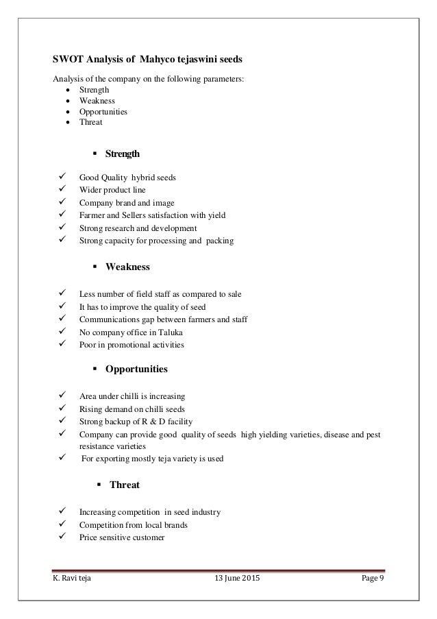 Mahyco Summer intern Report