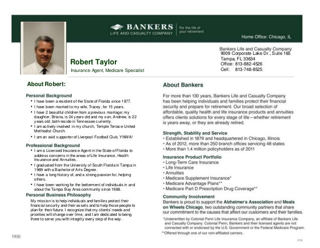 Robert Tayloru0027s Bankers Life Insurance Personal Resume. About Robert: U2022 I  Have Been A Resident Of The State Of Florida Since 1977  My Personal Resume