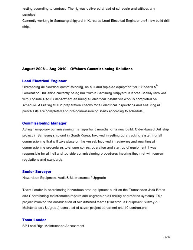 CV - Martin Bennie- commissioning manager